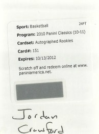 2010-11 Panini Classics Jordan Crawford Autograph Redemption Card