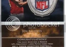 2011 Topps Inception Jon Baldwin NFL Logo Patch
