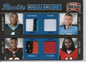 2011 Panini Threads RC Collection Quad Jersey #4 A.J. Green - Cam Newton - Jake Locker - Julio Jones