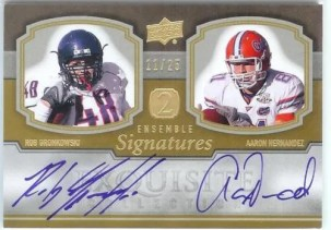 2010 Exquisite Dual Ensemble Autograph Patriots TE