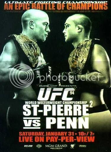 2009 Topps UFC Fight Poster UFC 94 St-Pirre vs Penn 2