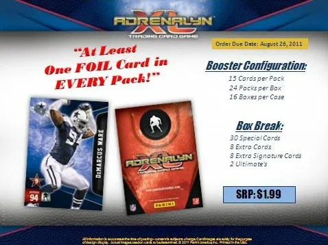 2011 Panini Adrenalyn Football Series 2 Sell Sheet