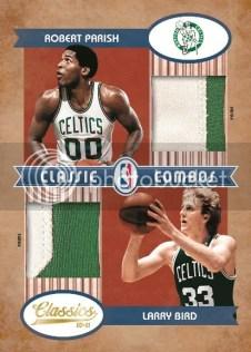 2010/11 Panini Classics Robert Parish Larry Bird Classic Combos Dual Prime Jersey Card