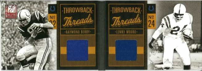 2011 Donruss Elite Football Throwback Threads Raymond Berry & Lenny Moore Auto/Jersey Card