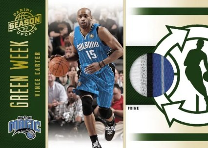2010/11 Panini Season Update Green Week Vince Carter Prime Jersey Card