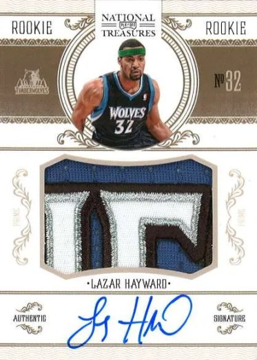 2010-11 Panini National Treasures Lazar Hayward Autograph Patch RC Card