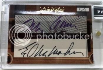 2011 Donruss Limited Cuts Johnny Carson & Ed McMahon Dual Cut Autograph Card
