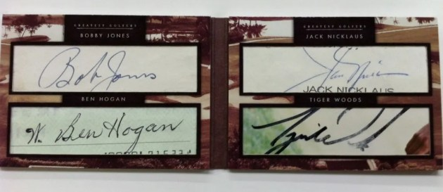 2011 Donruss Limited Cuts Quad Autograph Ben Hogan - Tiger Woods - Jack Nicklaus - Bobby Jones