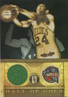 2011-12 Panini Gold Standard Sam Jones Hall of Gold Jersey Card