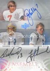 2011 Upper Deck Exquisite John Elway - Dan Marino - Troy Aikman Triple Autograph