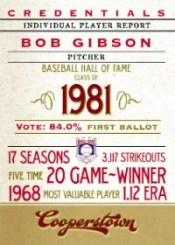 2012 Panini Cooperstown Credentials Bob Gibson Insert Card