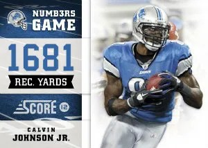 2012 Score Football Numbers Game Calvin Johnson Jr Insert Card