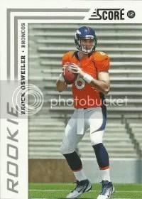 2012 Score Football Brock Osweiler RC Card