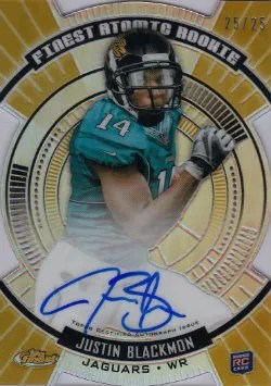 2012 Topps Finest Justin Blackmon Atomic Gold Refractor Autograph