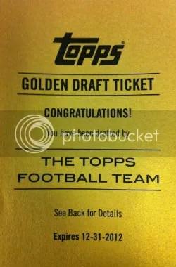 2012 Topps Golden Draft Ticket Redemption Card