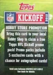 2012 Topps Kickoff Hobby Store Promotion
