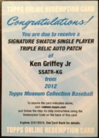 2012 Topps Museum Collection Ken Griffey Jr Signature Swatch Triple Relic Auto Redemption