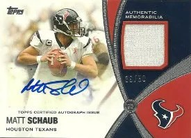 2012 Topps Prolific Playmakers Matt Schaub Autograph Relic Card