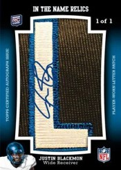 2012 Topps Football Justin Blackmon In the name Autograph
