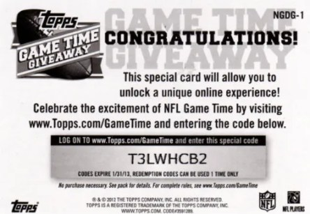 2012 Topps Game Time Giveaway Code Card Back