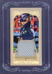 2012 Topps Gypsy Queen Yovani Gallardo Mini Relic Jersey