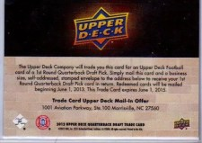 2012 Upper Deck Andrew Luck Redemption Card Back