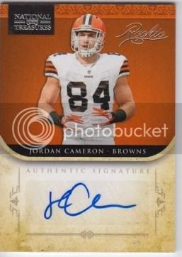 2011 Playoff National Treasures Jordan Cameron Autograph RC Card #/99