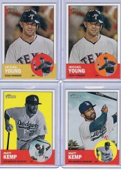 2012 Topps Heritage Michael Young Color Swap Variation