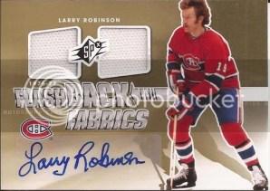 2011-12 Upper Deck SPx Larry Robinson Flashback Fabrics Autograph Card