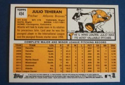 2012 Topps Heritage Card Julio Teheran Regular Back