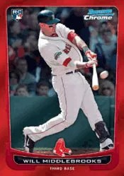 2012 Bowman Draft Picks Will Middlebrooks Red Refractor