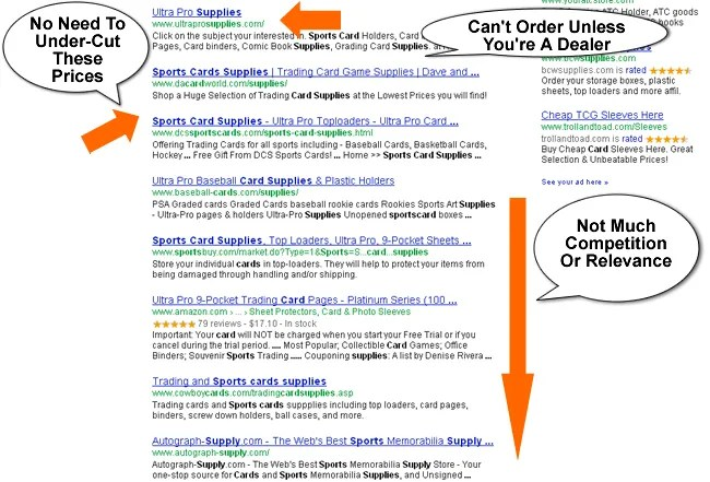 Sports Card Supplies Google Search Result Below Fold