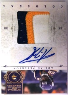 2011 Panini National Treasures Colossal Adrian Peterson Autograph Prime Jersey Card