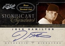2011 Playoff Prime Cuts Josh Hamilton Significant Signatures