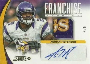 2013 Score Franchise Prime Fabric #2 Adrian Peterson Auto