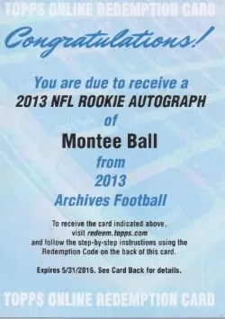 2013 Topps Archives Montee Ball RC Redemption