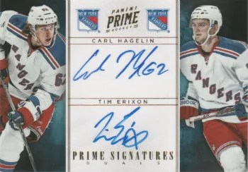 2011-12 Panini Prime Dual Signatures Gold #10 Carl Hagelin - Tim Erixon #/15