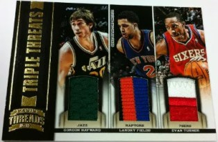 2012-13 Panini Threads Triple Threats Jersey 16 Evan Turner - Landry Fields - Gordon Hayward