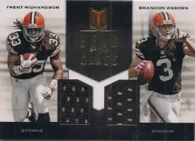 2012 Panini Momentum Head of the Class Dual Material #2 Trent Richardson - Brandon Weeden
