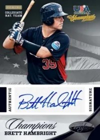 2013 Panini USA Baseball Champions Brett Hambright Certified Black