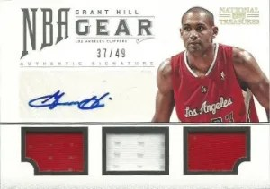 2012-13 Panini National Treasures NBA Gear Trios Grant Hill Auto jersey