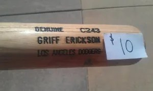 Griff Erickson Broken Bat For Sale