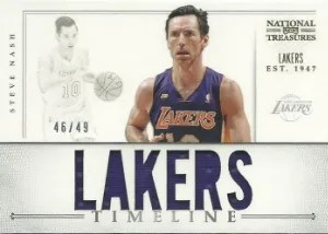 2012/13 Panini National Treasures Timeline Team Nicknames Steve Nash Lakers Jersey