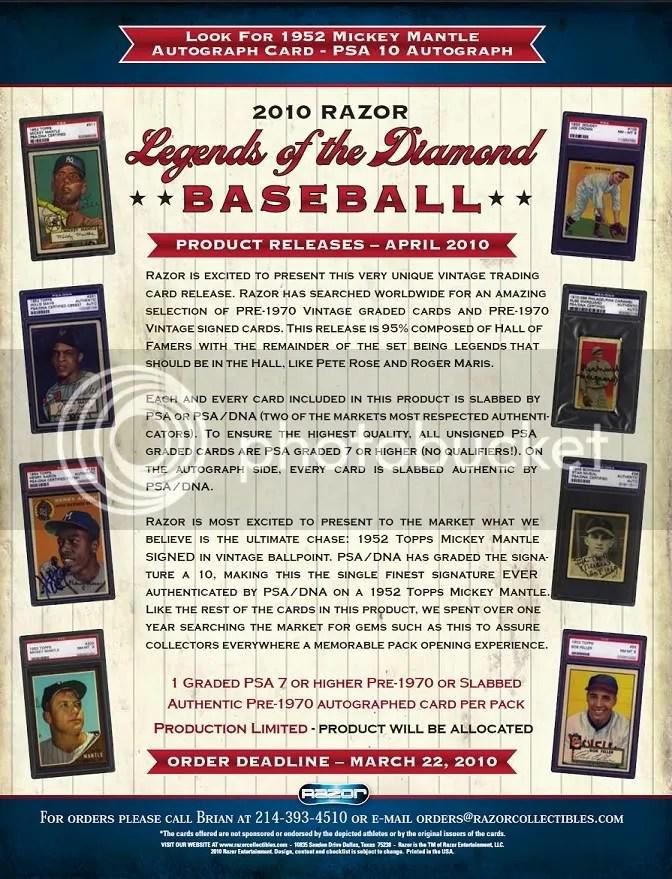 2010 Razor Legends of the Diamond Baseball Sell Sheet