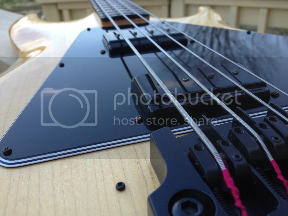 medium resolution of the pick guard i used was an original norlin era gibson unit from the last 70 s since it were never installed on a bass the screw holes were never beveled