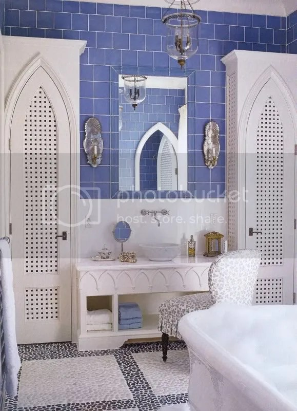 HEres a gorgrous girly-chic take on a Moroccan bathroom featured in House Beautiful