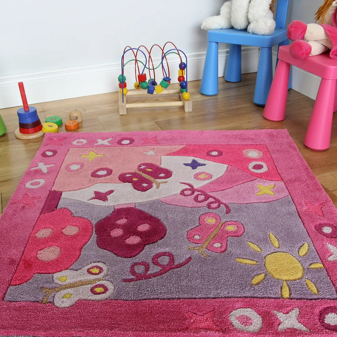 New Soft Small 90x90cm Pink Summertime Bedroom Rug Girls Fun Baby Playroom Mat
