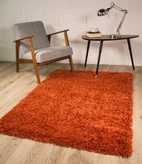 NEW Terracotta Red Orange Spice Ember African Shaggy Rug ...