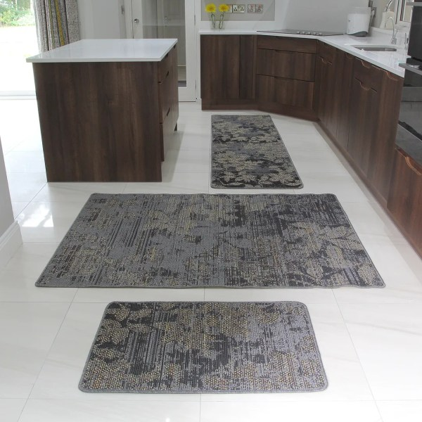 Brown Rubber Backed Modern Kitchen Rug Flat Weave Easy