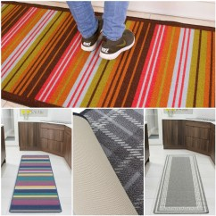 Kitchen Runner Mat Stainless Steel Faucets Non Slip Grey Blue Brown Hallway Washable Rubber Details About Backing